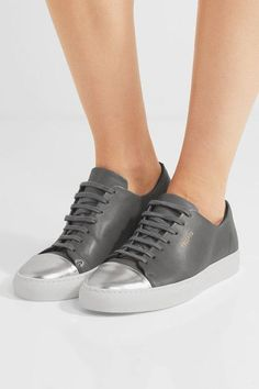 Axel Arigato - Metallic-trimmed Leather Sneakers - Dark gray - IT35