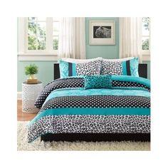 Teal COMFORTER Set TWIN Bed Polka Dots Leopard Animal Print Aqua Blue Bedding #MZ