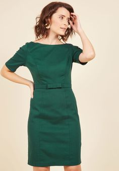 You've been longing for a look as lavish as this dark green sheath dress, and finally your wish has come true! Part of our ModCloth namesake label, this half-sleeved dress touts a bateau neckline, a bow-accented belt, a stretch millennium fabric, and opulent style that's perfect for your dreamiest occasions. By the way, this lovely item will be available for purchase in November!