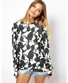 b516ebebf3 SHOP IT  ASOS Sweatshirt in Cow Hide Print