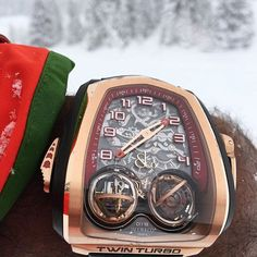 The perfect snow day attire? The Twin Turbo by Jacob & Co. #watchoftheday #jacobandco