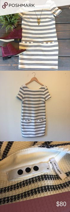 """Three Dots Striped Textured Dress With pockets Worn once! One of my favorite dresses but too small for me now. Has a textured material with  dark Navy (almost black) stripes on off white. And it HAS POCKETS!. Length 32.5"""" armpit to armpit 15.5"""" Material has a little stretch but not a lot Three Dots Dresses"""