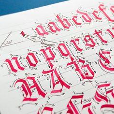 Still working on my workshop's workbook. Time to Textura Quadrata Blackletter ;) #calligraphy #workshop #lettering #typography #workbook #tutorial