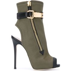 Giuseppe Zanotti Design 'Roxie' boots (£1,010) ❤ liked on Polyvore featuring shoes, boots, green, cutout boots, open-toe boots, stiletto heel boots, open toe leather boots and side zip boots