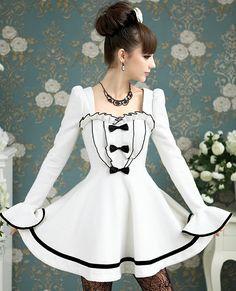Elegant Gothic Lolita White Lutos Woolen Dress