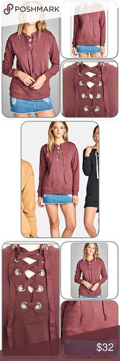 Date Night Marsala Soft Lace Up Top S NEW Premium soft marsala lace up front sweatshirt inspired top. Perfect casual day, weekend wear or date nite piece. You will not want to take off!!!  Love the cozy flattering fit. MADE IN USA - 65% polyester-33% cotton-2% spandex. French terry lined. True to size with stretch.   SIZE CHART Small 2-4-6 Bust 32-34-36 Length 26 Tops