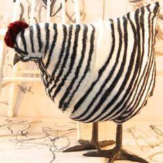 Barred Rock chicken felted footstool
