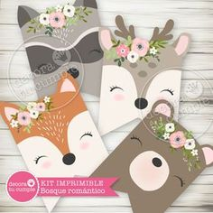 Printable kit customized romantic forest animals - A super adorable kit with our exclusive illustrations of forest animals, perfect baby shower and bi - Forest Animals, Woodland Animals, Baby Birthday, Birthday Cards, Baby Shower Game Prizes, Woodland Baby, Woodland Nursery, Party In A Box, Baby Winter