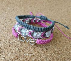 Save $6.50 with this bracelet stack! What a deal!  Each bracelet is made with high quality hemp cord. This stack includes (from bottom to top): A love connector charm pink bracelet, a crackle glass beaded fishbone knot bracelet made with pink/gray/white, and a simple gray square knot bracelet. #pink #gray #grey #love #braceletstack #bracelets #hemp #hempbracelets #lovepink #backtoschool #hempjewelry #jewelry #ecofriendly #macrame #ecochic