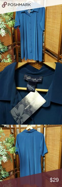 Susan Graver, Blue Shirt Dress New Condition. Pleated in front and back Susan Graver Dresses Mini