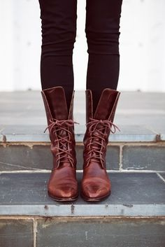 Shiny brown lace-up boots