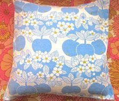 Pomme de Jour Vintage Fabric Cushion Cover -Apple And Flowers Cushion Fabric, Cushion Pads, Cushions, Pillows, Cotton Fabric, Apple, Colours, Crafty, Quilts