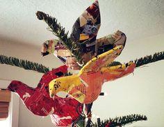 collage birds!  Paper mache base?