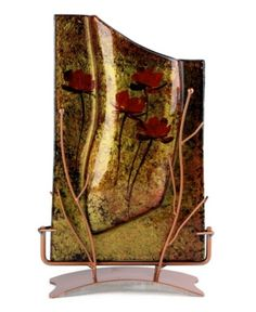 Jasmine Art Glass 14 x 8 Rectangle Vase Glass Wall Art, Fused Glass Art, Stained Glass Art, Stained Glass Windows, Mosaic Glass, Rectangle Vase, Luminous Colours, Bottle Art, Flower Art