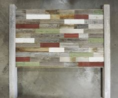 """Reclaimed Wood """"Rustic Retreat"""" Headboard for Twin Bed w/ LEGS made of Recycled, Rustic Barn Wood. Wallmounted. Your Choice of Accent Colors. Total dimensions (including posts) are 41"""" Wide by 51.5""""-60.5"""" Tall (depending on """"Off the ground"""" option choice). & utilizing random lengths of 3"""" wide naturally weathered Barn Wood slats in a variety of natural and optional weatherworn* painted accent colors, this wall panel headboard will add variety, color, and rustic character to any room. Our..."""