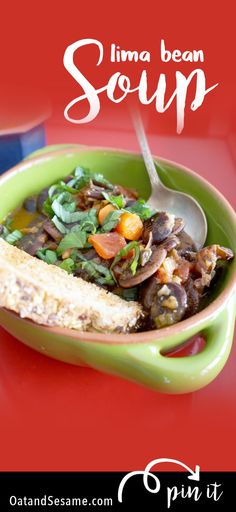 A hearty, GIANT Christmas Lima Bean Soup! Vegetarian, Vegan + Plant Based   Recipe at OatandSesame.com