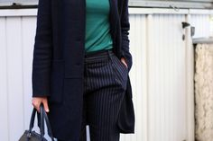 #blue #outfit #green #pleated #pants #fashion #inspiration #autumn #mood