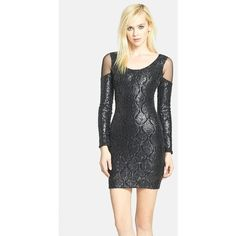 Women's Dress the Population 'Jaden' Faux Leather Sequin Body-Con... ($175) ❤ liked on Polyvore featuring dresses, black, cut-out shoulder dresses, sequin cocktail dresses, cut out shoulder dress, cold shoulder dress and cold shoulder cocktail dress