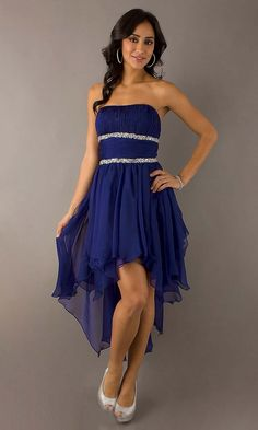 e0cd4fa12ac Ruffled Royal Blue High-low Homecoming Dress Royal Blue Homecoming Dresses