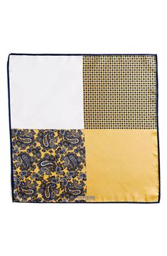 $39, Yellow Print Pocket Square: J.Z. Richards Silk Pocket Square Yellow One Size. Sold by Nordstrom. Click for more info: https://lookastic.com/men/shop_items/168652/redirect