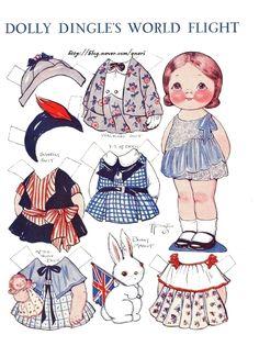 Vintage May 1932 Grace Drayton paper doll Dolly Dingle's World Flight- England Makeup Vintage, Barbie Vintage, Vintage Paper Dolls, Victorian Paper Dolls, Victorian Dollhouse, Modern Dollhouse, Vintage Clip, Mattel Barbie, Paper Toys