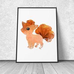 Vulpix, Pokemon Fan Art, watercolor illustration, giclee art print, silhouette, wall decor