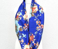 Blue Floral Loop Scarf Royal Blue Infinity with by Schalrausch, €16.50