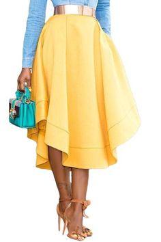 2017 Fashion Woman Asymmetrical Cutting Making Waves Plus Size High Waist Midi Skirt Online Jupe Longue Femme Cheap Skirts, Full Skirts, Midi Skirts, Skirts With Pockets, A Line Skirts, Pleated Skirt, High Waisted Skirt, Waist Skirt, Ruffle Skirt