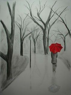 Easy beginner canvas painting, tree line, red umbrella.