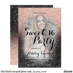 Chic black rose gold glitter ombre photo Sweet 16 Card