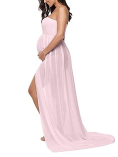 5148a53117 Liu & Qu Pregnant Women's Off Shoulder Sleeveless Chiffon Gown Split Front  Strapless Maternity Maxi Dress