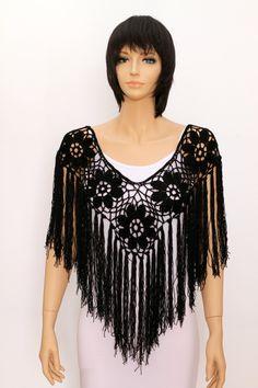 Black Shawl poncho cape crochet shawl wedding wrap wedding shawls Handmade Poncho by ettygeller on Etsy