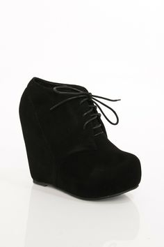 Camilla Wedge Boot in Black / ShopSosie #wedges #booties #black #shoes #heels #shopsosie