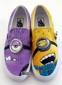 hand painted - special order thru etsy also available here: http://www.etsy.com/au/listing/157471348/despicable-me-2-good-vs-evil-minion?ref=listing-shop-header-1
