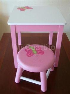 mesa y banco para nia diseo mariposa