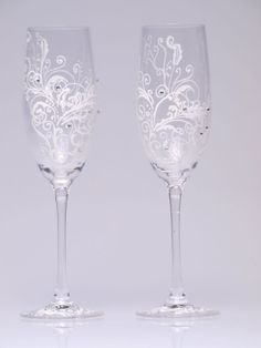Hand Painted Wedding Toasting Flutes Set Of 2 Pers  $68