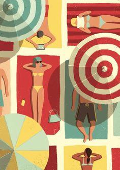 A new illustration by Davide Bonazzi. Have a good summer! External Link: Summertime by Davide Bonazzi Art And Illustration, Character Illustration, Illustrations Posters, Motifs Textiles, Motif Art Deco, Grafik Design, Beach Art, Art Inspo, Vector Art