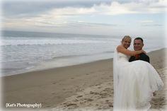 Classic beach wedding picture