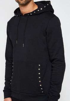 Hoodie with Studded Pocket - Black