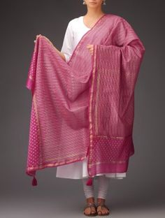 Block Printed Chanderi Dupatta - Indian August