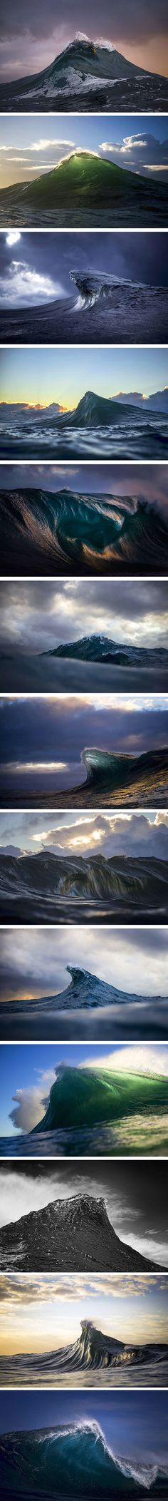 Photographer Captures Ocean Waves at Perfect Moment to Make Them Look Like Liquid Mountains