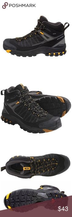 Like new! Salomon Fastpacker 3D Mid Boots classic trail-running fit...lightweight climbing shoe features low profile chassis for added stability...kevlar lacing...gusseted tongue, rubber toe cap, mud guard wrap and heel cap for added protection...odor reducing anti-microbial Ortholite footbed...rubber outsole offers excellent grip on mixed terrain...reliable braking lugs in a multidirectional design...ideal for lightweight backpacking, hiking, adventure racing. Actual boots pic #4. Perfect…