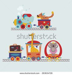 Cute cartoon animals in the train childish illustration - stock vector