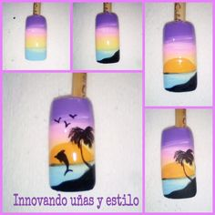 😀Siguenos en nuestras redes sociales instagram @innovandounasyestilo  facebook y youtube como Innovando uñas y estilo. Finger Nail Art, 3d Nail Art, Simple Nail Designs, Nail Art Designs, Wonder Nails, Beach Nail Art, Sea Nails, Airbrush Nails, Almond Nails Designs