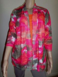 Chico's Size 2 Open Front Cardigan Pink Multi Abstract Pattern Artsy Orange Cami #Chicos #OpenCardigan