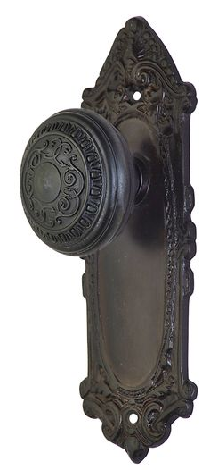 antique door knob with french provincial plate oil rubbed bronze