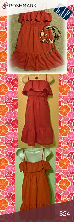 """Perfect Summer Sundress! Cute ruffle top and hem Sundress from The Gap, size 4. It's a reddish pink, watermelon color. Fully lined in same color lining. 29.5"""" long, empire waist style band is 14.5"""" and is stretchy. Adjustable straps so length can be adjusted.   #reddress #redsundress #gap #thegap #gapdress #redsundress #rufflesundress #ruffledress GAP Dresses"""