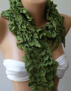 ON SALE/Green  Elegance Shawl / Scarf with Lace Edge by womann, $14.90