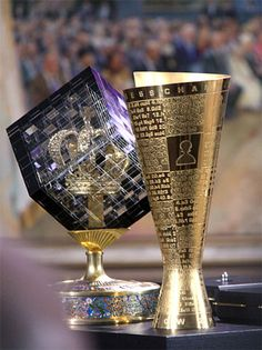 ChessBase.com - Chess News - These are the trophies received by Viswanathan Anand of India, as he successfully defended his World Championship against Boris Gelfand from Israel. Note that all the games are engraved in the golden cup.