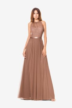 Rachel bridesmaid gown in latte. By David Tutera for Gather & Gown